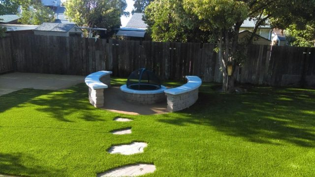 Project: Antioch, CA Backyard Turf & Fire Pit with Stepping Stones